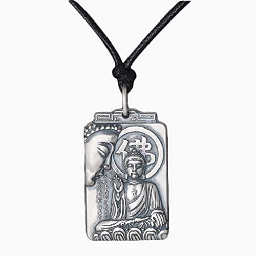 Buda Colgante Collar Necklace para Mujeres Y Hombre joyería Unisex Plata De Ley 990 Buddhist Collar Amuleto Budista, Caja De Joyería