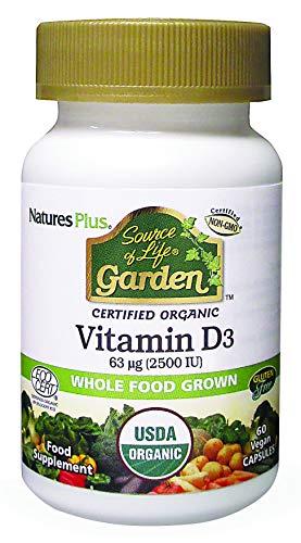 NaturesPlus Source of Life Garden Organic Vegan Vitamin D3-2500 IU, Bone & Immune System Support - Gluten Free, Whole Food, Vegan, Plant Based Supplement - 60 Servings