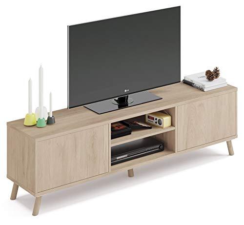 Pitarch Mueble TV Alde Salon Moderno Color Roble 2 Puertas Push 2 Huecos Comedor nordico 160x52x40