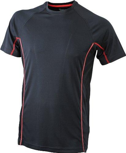 James & Nicholson Herren Kurzarmshirt Running Reflex-T schwarz (black/red) Medium
