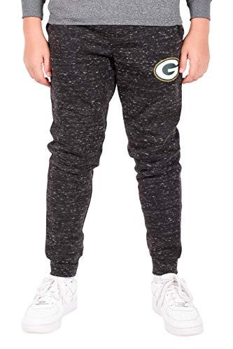 Ultra Game NFL Green Bay Packers Boys Extra Soft Black Snow Fleece Jogger Sweatpants, Black Snow, 14/16