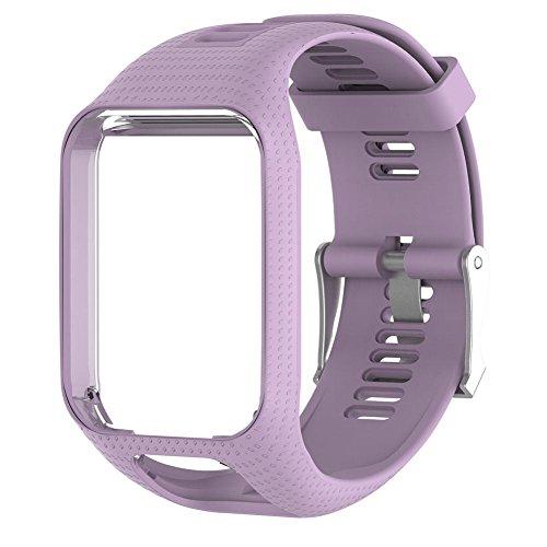 Seasaleshop Tomtom Cambio de Pulsera Silicona Reloj de Pulsera Pulsera de Repuesto para Tomtom Spark 3/Spark/Runner 3/Runner 2GPS de Relojes, 2/3Series, 25mm, Color Lavanda