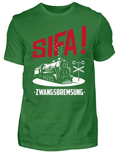 SIFA! Zwangsbremsung - Geschenk-Idee für Lok-Führer & Eisenbahner - Herren Shirt -M-Kelly Green