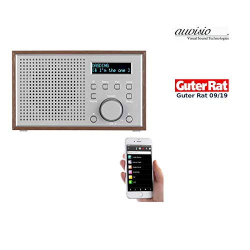 auvisio Radio: WLAN-Internetradio mit Holzdesign-Gehäuse, 2 Weckzeiten & App, 10 Watt (WiFi Radio)
