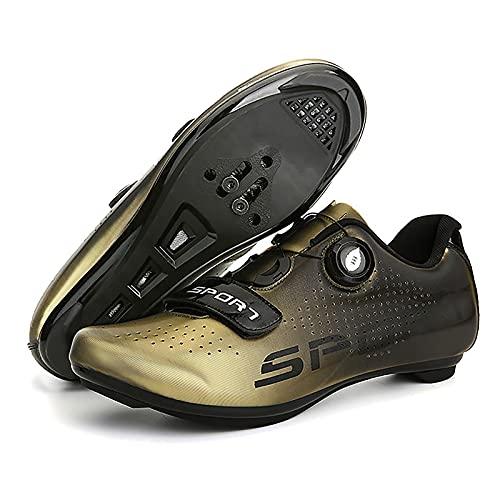 DSMGLRBGZ Zapatos de ciclismo, (36-46) con cerradura transpirable, hebilla giratoria, sensación de pie ligero, para bicicleta de carretera/montaña zapatos de hombre y mujer, 43