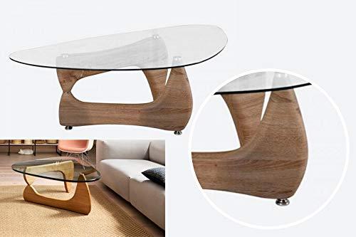 Azura Home Style Couchtisch im Noguchi-Stil mit transparenter Glasplatte, dreieckiger Couchtisch, Gitarrenplektren, Stativ, natürlicher Holz-Effekt, Akzenttisch