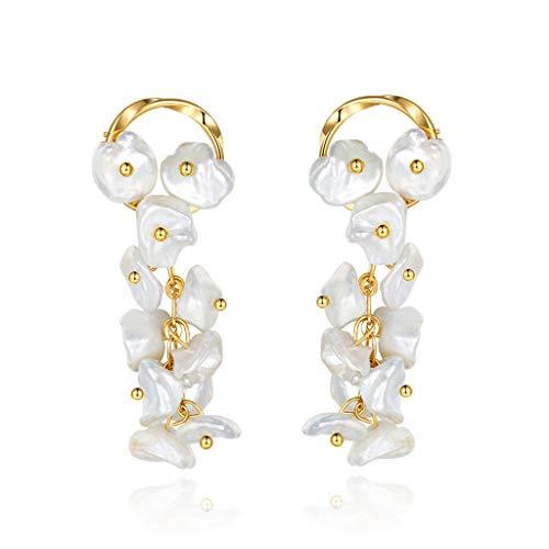 Conjunto Boda de joyería de perlas pendientes for las mujeres, pendientes de novia 925 de plata de ley de agua dulce pendiente de perlas cultivadas gota cuelga delicado for la boda de Oreja para mujer