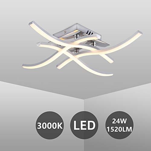 LED Deckenleuchte, Moderne Wellenförmige Deckenlampe, 4-Flammig, Warmweiß 3.000K, 24W, 4x 380LM, Aluminium, Gebogene Design Lampe für Wohnzimmer Schlafzimmer Esszimmer (Warmweiß, 4 Flammig)
