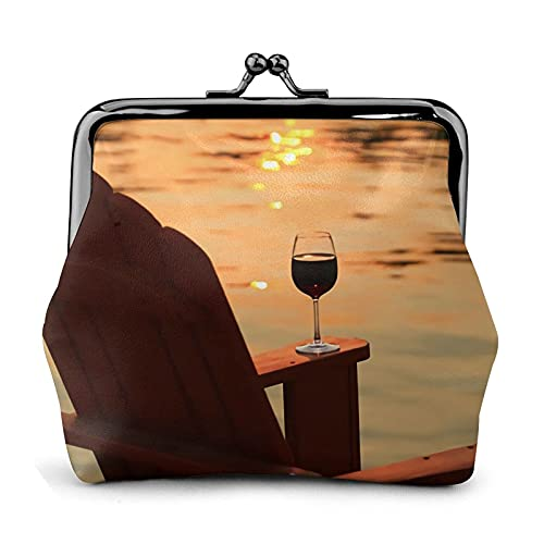 Coin Purse Chair and Wine at Sunset Lake Wallet Buckle Leather Travel Makeup Change Purse Women Gift