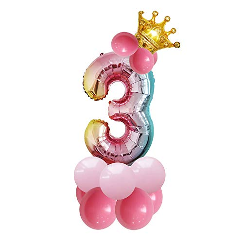 JinSu 3 Jahre Geburtstag Zahlen Luftballons für Kinder, 14 Stück Geburtstag Deko mit Folie Krone Ballon und Latex Ballons für Geburtstag Dekoration (3)