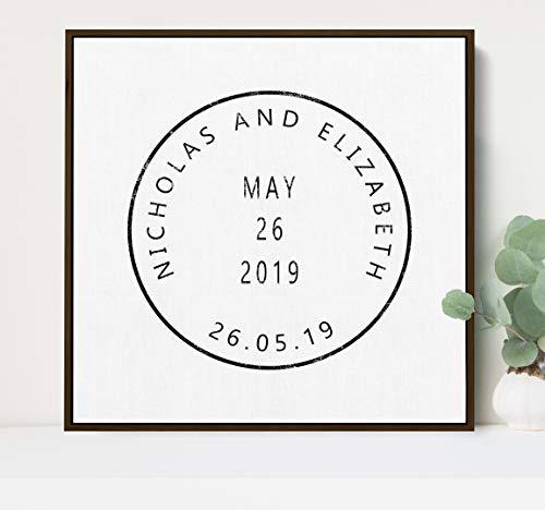 Ced454sy uniek stempel teken gepersonaliseerd met voor- of achternamen en vastgestelde datum perfecte verjaardag of bruiloft cadeau