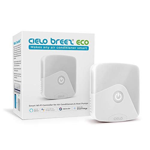 Cielo Breez Eco Smart AC Controller | Works with Mini Split, Window & Portable ACS | WiFi, Alexa, Google, SmartThings, Free Apps, NO Monthly Subscription | Schedules, Geofencing, Comfy & More (White)
