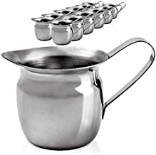 [12 Pack] 3 oz Creamer Pitcher - Stainless Steel Bell Creamers, Mini Cup Container for Serving Milk, Coffee Cream, Salad Dressing, Maple Syrup, Sugar, Espresso Machine for Restaurant, Cafes, Home Used