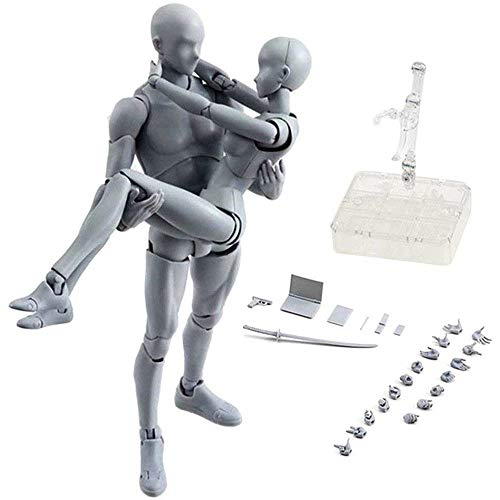 Action Figures Body Kun & Body-Chan DX PVC Model SHF(Grey Color Ver) with Box Drawing Figure Models for Artists(Female+Male)