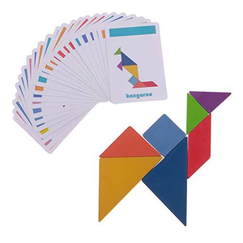 NUOBESTY Juego de Bloques de Madera Rompecabezas de Forma Geométrica Kindergarten Juguetes Educativos Clásicos Montessori Tangram para Niños (Big Box Tangram)