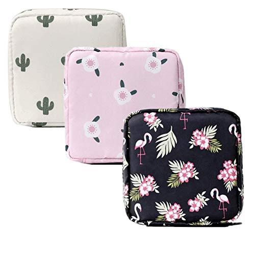 3er Set Damenbinden Tasche Aufbewahrungstasche Damen Geldbörse Münzbörse Minibörse Tampontasche für Frauen und Mädchen (Kaktus)