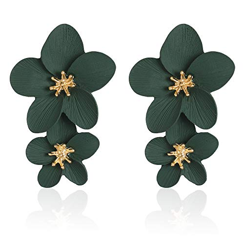 Large Flower Earrings for Women - Metal Flower Earrings, Chic Flower Statement Earrings, Great for Party, Wedding, Shopping, Dating (green flower earrings)