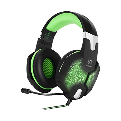 Kopfhörer 3,5 mm Gaming Bass Stereo Headset Kopfhörer Bunte LED(Grün)