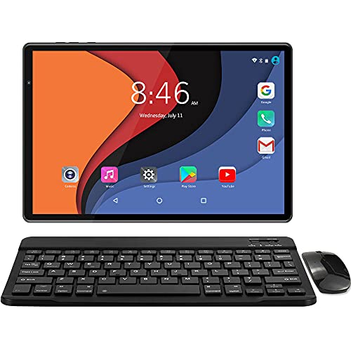 LNMBBS Tablet 10 Zoll 4G LTE + 5G WiFi, Android 10.0 mit Tastatur, 1920*1200 FHD, 13MP+5MP Kamera, Octa-core Prozessor, 64GB ROM + 4GB RAM, Face Unlock/GPS/Bluetooth 5.0/mit Sim Karte/Hülle, Schwarz