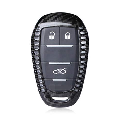 M.JVisun Funda protectora de fibra de carbono auténtica para llave de coche Alfa Romeo, Giulia, Alfa Romeo, Stelvio, color negro