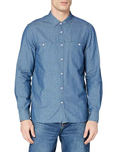mustang Casper Denim Pique Camisa, Azul, M para Hombre