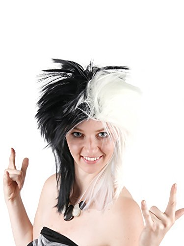 Cosplay 80s Rocking Dude Wig Fancy Dress Punk Metal Rocker Mullet Style Anime Synthetic Hair Black White Pixie Wig Punk