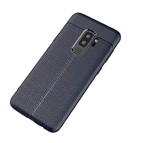 Hiinice Estilo Simple Caja del teléfono Super Slim Dura Protectora de la Caja del teléfono de la Cubierta a Prueba de Golpes para Samsung Galaxy S9 Plus - Azul Oscuro Llevar Latido del corazón