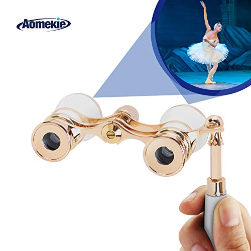 Aomekie Opera Glasses Binoculars 3X25 TheaterGlasses Lorgnette Mini Binocular Compact with Handle for Adults Kids Women in Musical Concert(White)