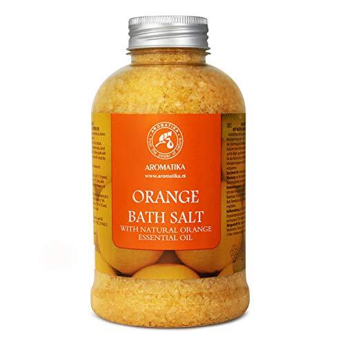 Sal de Baño de Orange 600g - Sal Marina con Aceite de Naranja para Dormir - Reducción de Estrés - Belleza - Baños - Cuidado Corporal - Relajación - Spa
