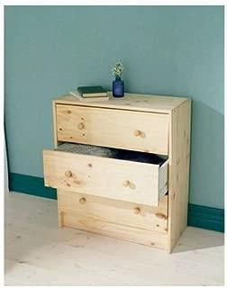 3 Drawer Dresser Chest Natural Pine Wood Home Bedroom Dorm Furniture Unfinished
