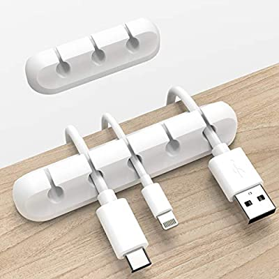 White Cable Clips, Cord Organizer Cable Managem...