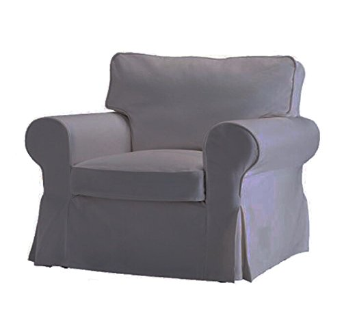 (Gray) - Replace Cover for IKEA Ektorp Armchair, 100% Cotton Sofa Cover for Ektorp Chair (Grey)
