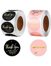 """1000 Stuks Ronde Etiketten Zelfklevende Cadeau-stickers Afdichtingssticker Handmade Labels With""""thank You"""" Thank You Label Sealing Sticker Voor Het Bakken Van Cadeauzakjes, Enveloppen, Bruiloften"""