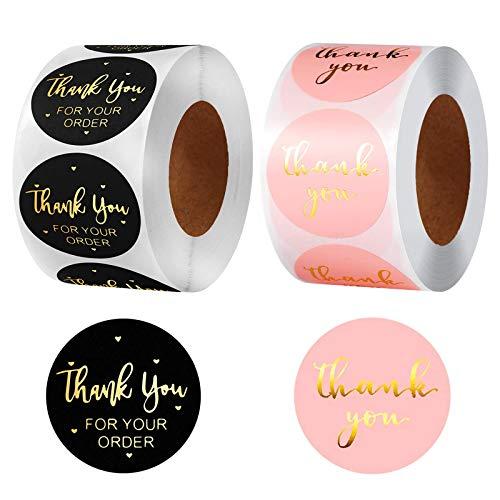 1000 Stück Folie Danke Etiketten Aufkleber Runde Etiketten Selbstklebend Geschenksticker Handgemachte Etiketten Mit
