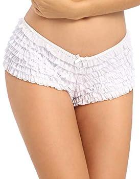 SHARICCA Womens Sexy Mesh Ruffle Panties Booty Boy Shorts Underwear  White S/M