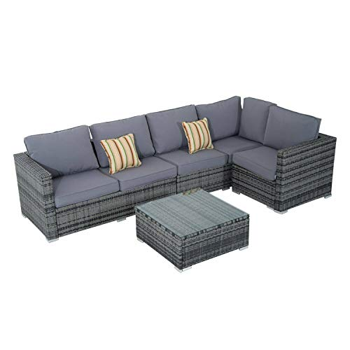 SSITG Rattan Poly-Rattan Lounge Seating Set Garden Furniture 4 Seats Cushion Box Table
