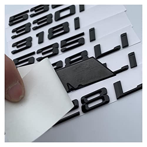 Pingping ZZPING Letra de Bricolaje M LI Número 0-8 Emblem Fit para BMW M128i M220i M228i M318i M320li 4M28I M520LI M640I M730I M750LI Etiqueta engomada del Logotipo del Tronco del Coche