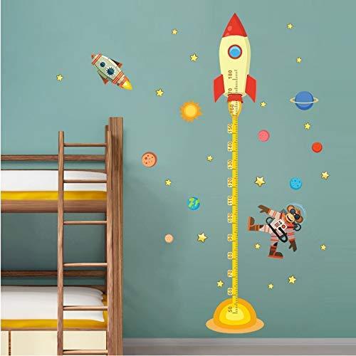 JQSM Wall Art Stickers DIY Espacio Exterior Planet Monkey Piloto Cohete Inicio Calcomanía Medida de Altura para Habitación de Niños Baby Nursery Carta de Crecimiento Regalo