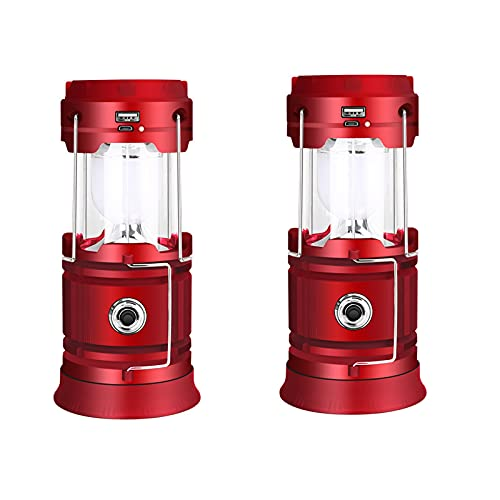 Luces solares de emergencia linterna de campamento solar DIRIGIÓ Linterna portátil USB Carga ultra brillante resistente al agua plegable adecuada (Color : Red)
