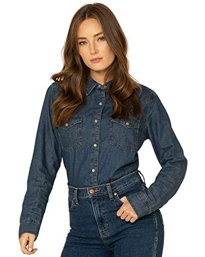 Wrangler Women's Retro Western Long Sleeve Snap Shirt, Dark Denim, X-Small