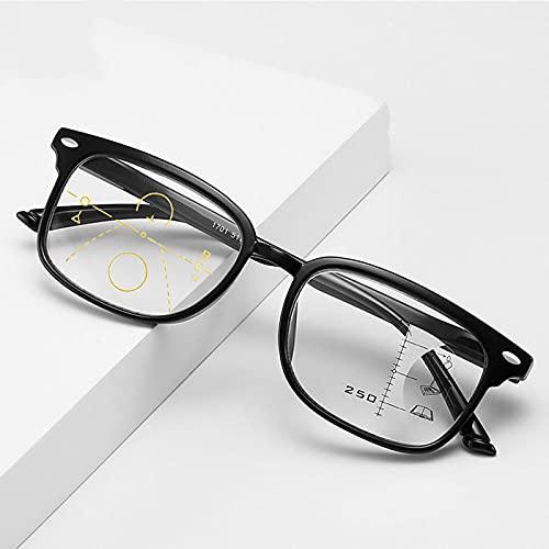 Gafas de Lectura para Hombres & Mujeres,Montura Negro de Gran Tamaño,Lentes de Transición Multifoco Progresivos,Gafas de Lectura HD Anti-luz Azul,Zoom Inteligente,Fatiga Ocular, 1.50