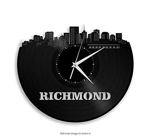Ayzr Richmond Virginia Vinyl Wanduhr Stadt Skyline Einzigartiges Geschenk