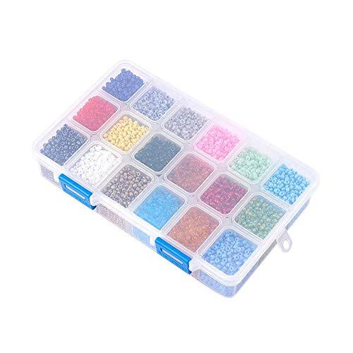 Cobeky 18 colores de cuentas de cristal caja de color suelta DIY hecho a mano joyería accesorios 500 cada uno
