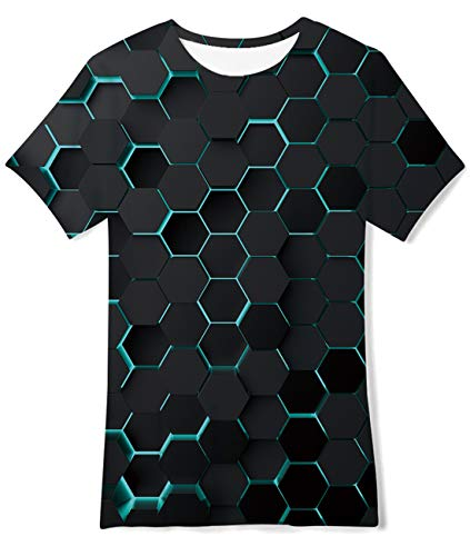 AIDEAONE Kinder Jungen T-Shirts Sommer Tops Bunt 3D T-Shirt M