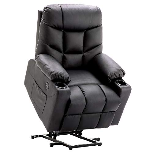 Mcombo Electric Power Lift Recliner Chair Sofa for Elderly, 3 Positions, 2 Side Pockets and Cup Holders, USB Ports, Faux Leather...