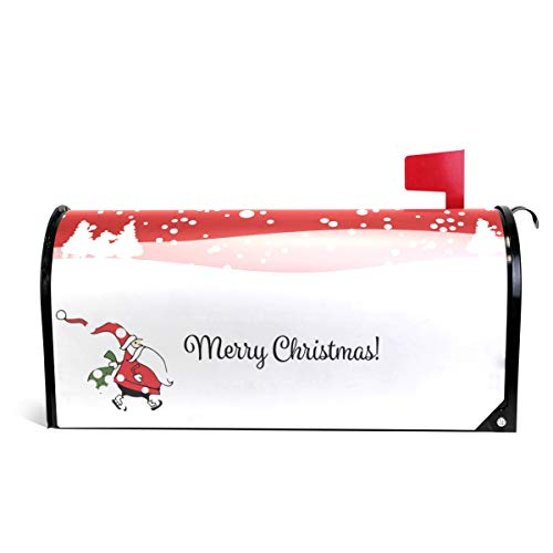 Santa Claus Walking in Town Christmas Mailbox Covers Magnetic