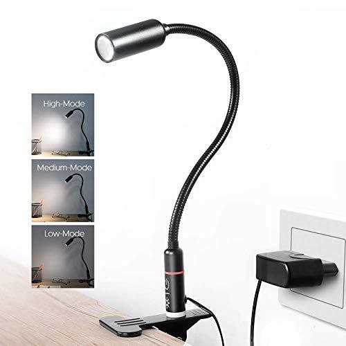 Leselampe buch klemme, TECKIN LED Klemmlampe Dimmbar Buchlampe mit 3 Helligkeitstufe Berührung ssteuerung Augepflege, 360° Flexibel Büchlampe Bettlampe für bücher Büro Schlafzimmer