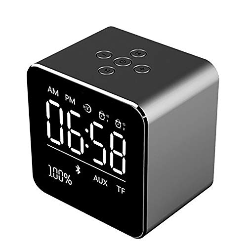 Draadloze klok draadloze Bluetooth-luidspreker mini-kubus draagbare luidspreker met LCD-display stereo-subwoofer met ingebouwde microfoon voor iPhone 6/6S/7 Plus/iPad/iPod Mini donkergrijs