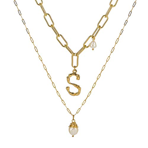 Collar con Colgante de Perlas de Agua Dulce Natural para Mujer Color Dorado 26 AZ Collares con Inicial de Nombre de Letra Grande