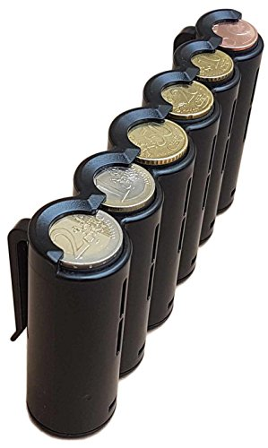 CLAIRE-FONCET Monedero con dispensador de monedas de 6 piezas de Euro, Monedero cintura, ideal para Camarero, Camarera, Taxis, Autobúses, vendedores en Parque de atracciones, Vendedores ambulantes